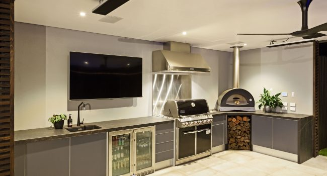 Outdoor electrical installation of TV, Oven, Outdoor fan, speakers and internet.