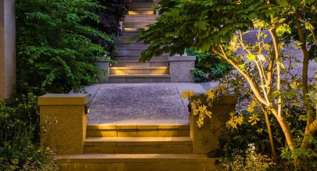 LED lights installed on garden path steps