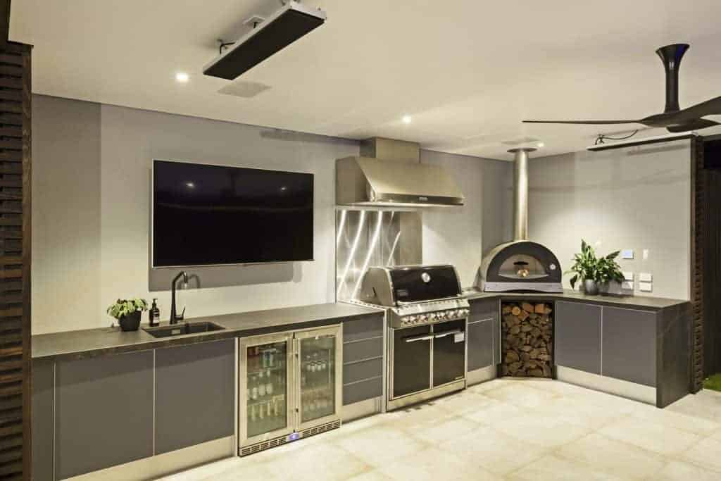 outdoor electrical and installation of outdoor cooktop, heating, outdoor fan and outdoor TV and audio