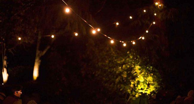 festoon lighting installed around the Macedon property