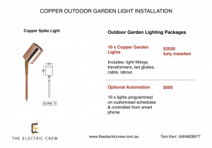 Copper Outdoor Garden Light Installation Package