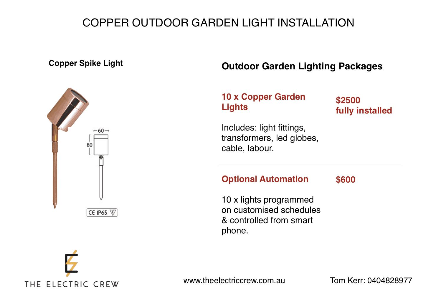 Copper Outdoor Garden Light Installation Package